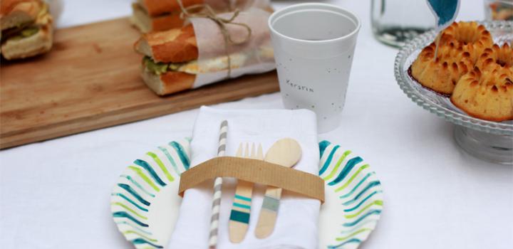 Picknick DIY: Pappteller, Pappbecher und Besteck