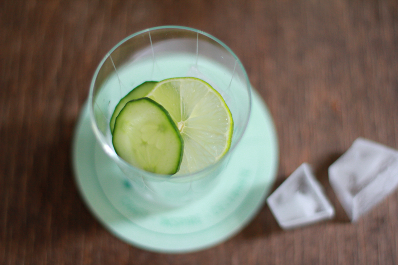 Lemon Cucumber Slices and Ice