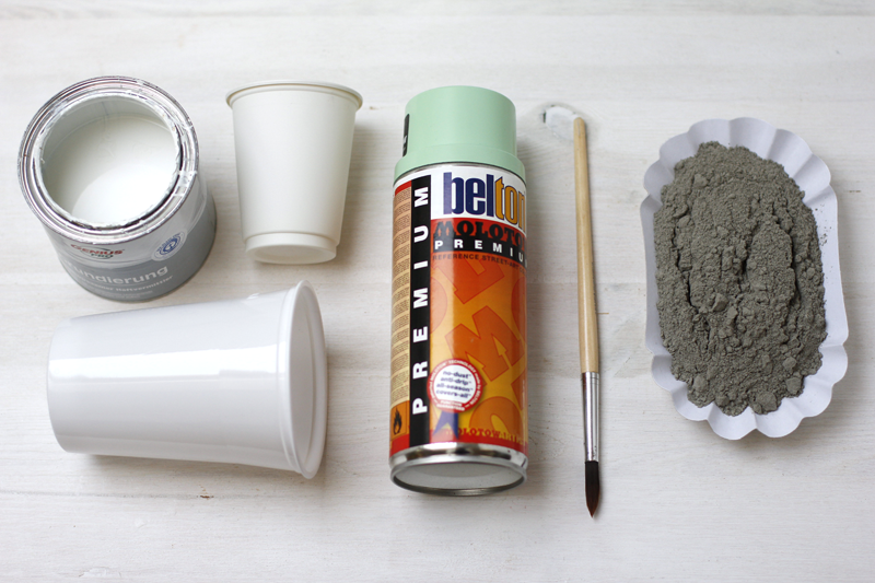Zement-DIY-Becher-Material