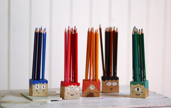 buntstifthalter | gesichter | we love handmade