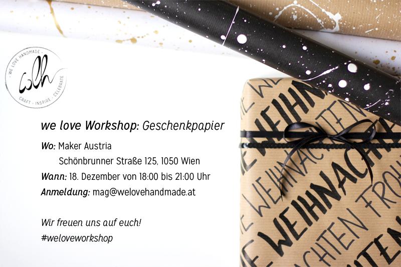 Geschenkpapier-Workshop Flyer | we love handmade