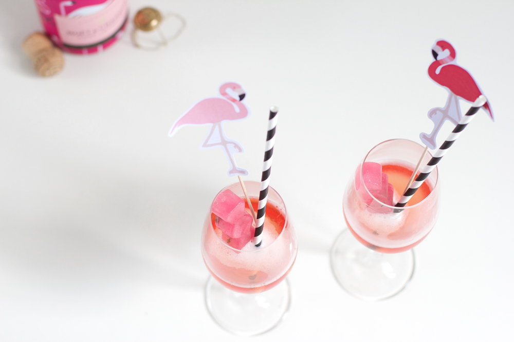 Drinks: Champagner mit Rhabarber-Lemongras-Thymian-Eis | we love handmade
