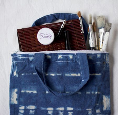 DIY: Shibori-Tasche für Utensilien