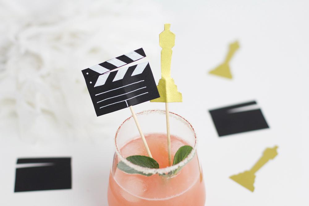 DIY: Cocktailstäbchen mit Oscarstatue und Filmklappe inklusive Vorlage | we love handmade