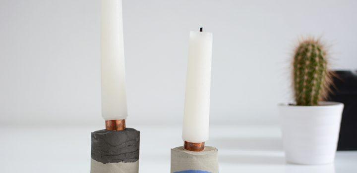 DIY: Zement-Kerzenhalter mit Pigmenten