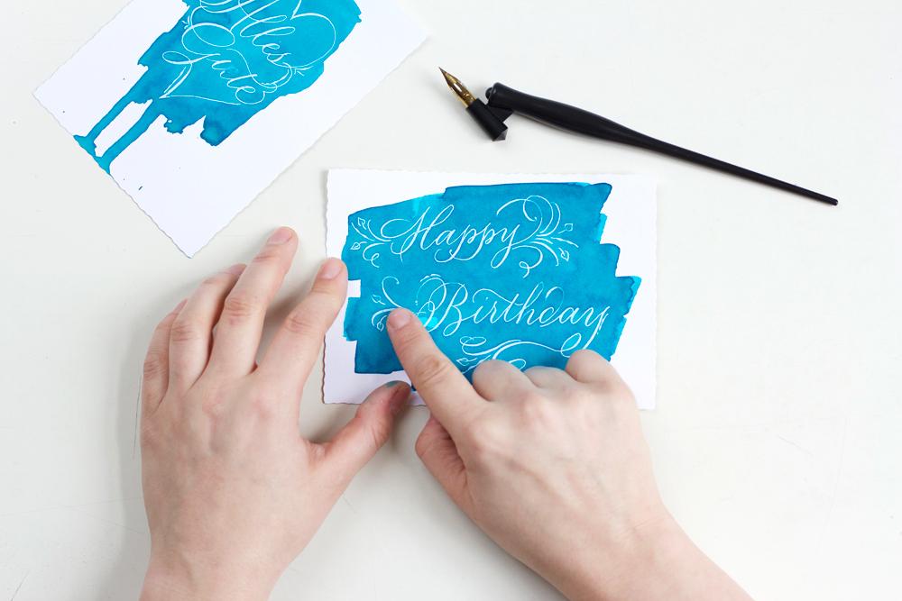 DIY: Kalligraphie Rubbelkrepp Grußkarten |we love handmade