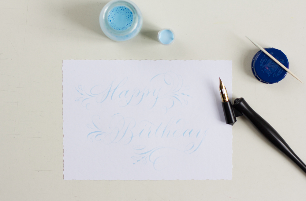 DIY: Kalligraphie Grußkarte mit Rubbelkrepp |we love handmade