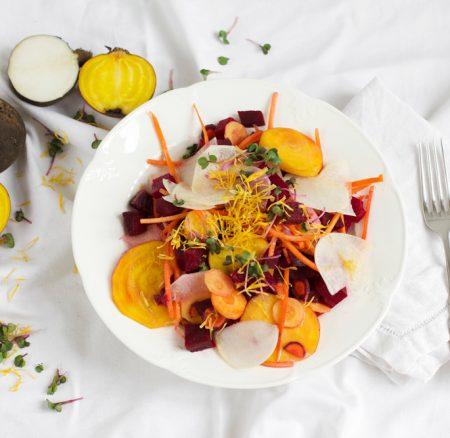 Food: Bunter Rübensalat mit Honig-Senf-Dressing