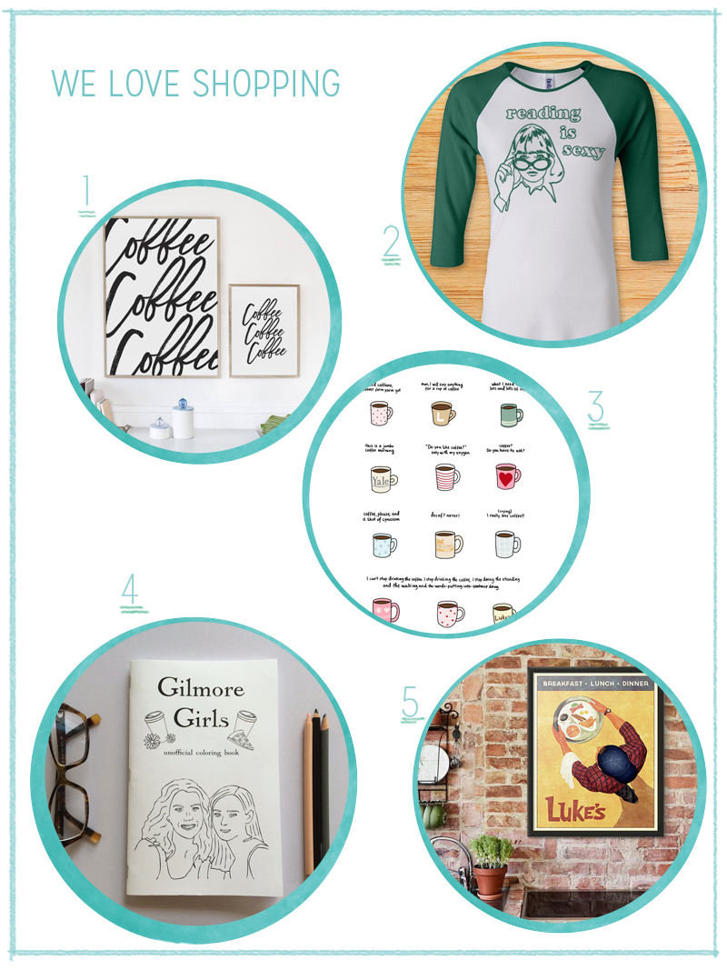 Etsy Shopping Collage mit Produkten zum Thema Gilmore Girls | we love handmade