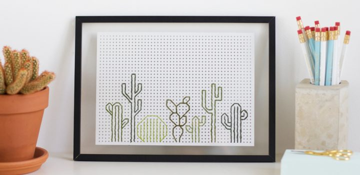 DIY: Kakteen-Stickbild