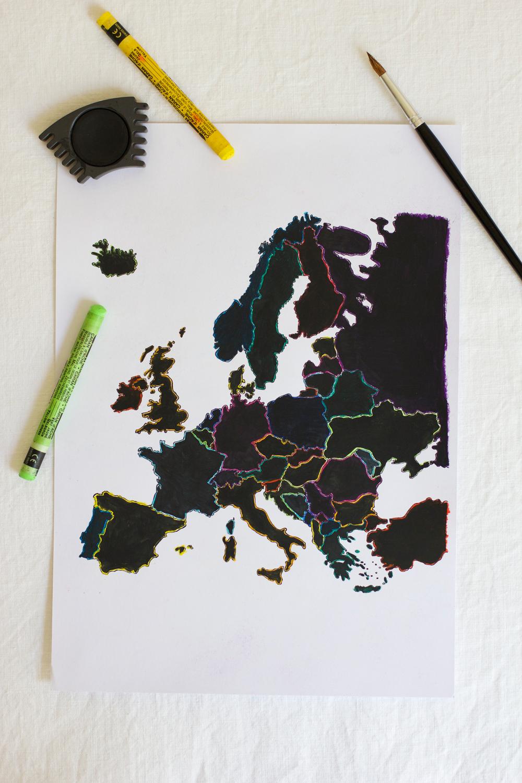 Europakarte zum Aufrubbeln |we love handmade