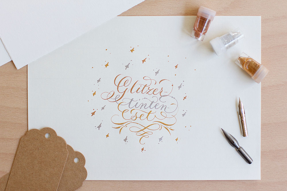Kalligraphie-Glitzerfarben-Set | we love handmade