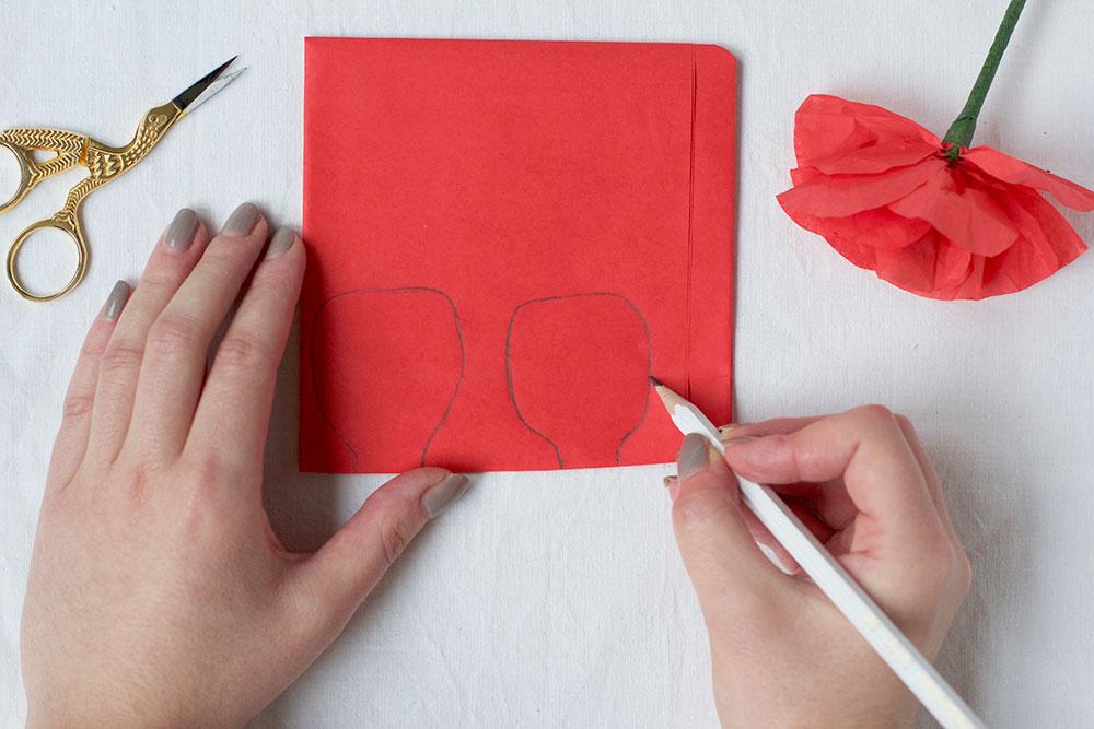 Mohn-Papierblumen Skizze | we love handmade