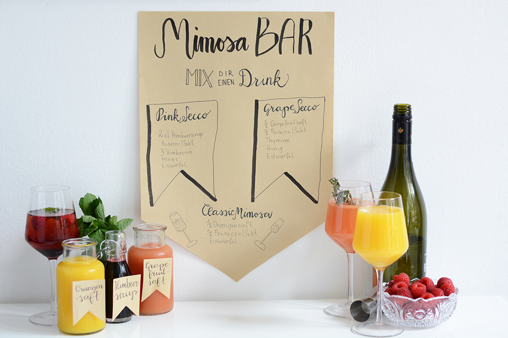 Mimosa-Bar-Banner: Hand Lettering | we love handmade