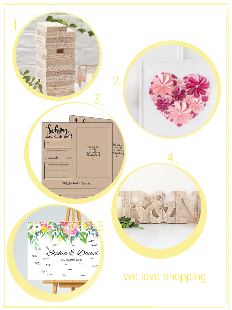 we love Shopping: Moderne Hochzeits-Gästebücher