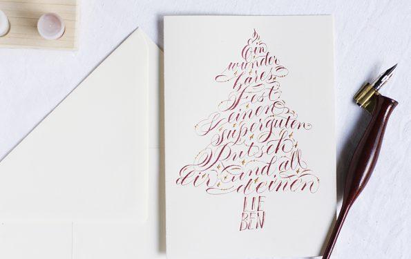 Kalligraphie-Weihnachtskarte mit Tintenfuchs | we love handmade