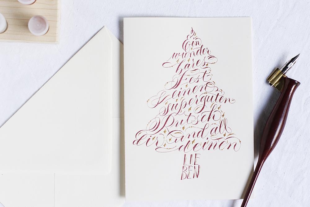 kalligraphie diy weihnachtskarte in baumform schreiben. Black Bedroom Furniture Sets. Home Design Ideas