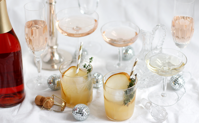 Drinks: Gin infused Champagner-Cocktail