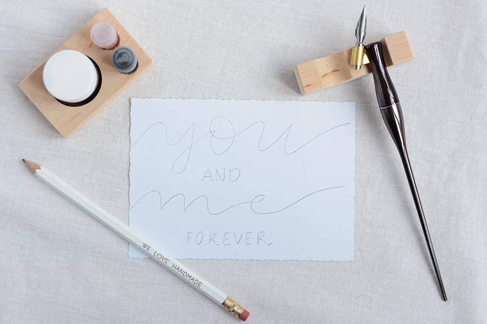 Kalligraphie-DIY: Valentinstagskarten | we love handmade
