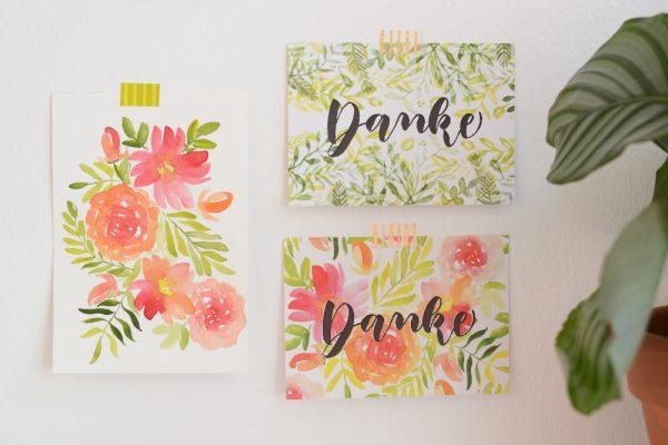 Handgezeichnete Dankeskarten | we love handmade