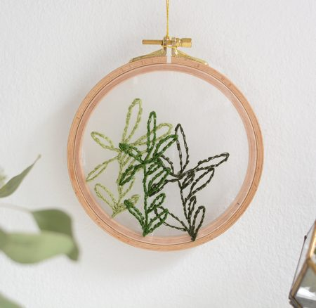 DIY: Minimalistisches Stickbild auf transparentem Stoff