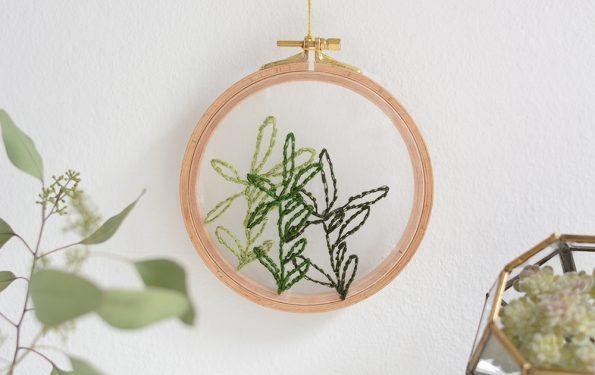 Minimalistisches Blätter-Stickbild DIY | we love handmade