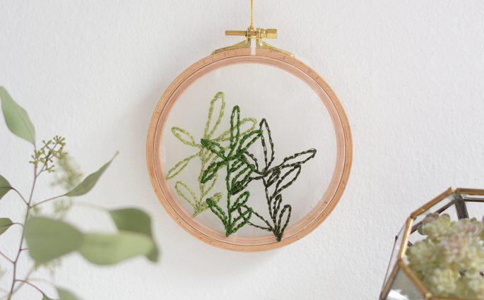 Minimalistisches Blätter-Stickbild DIY   we love handmade
