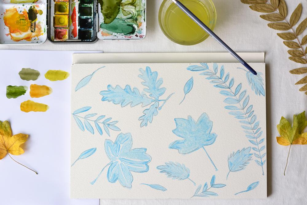 Herbstblätter Aquarell | we love handmade