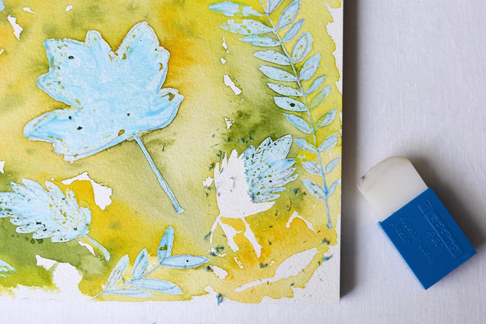 Herbstliches Aquarell mit Rubbelkrepp | we love handmade