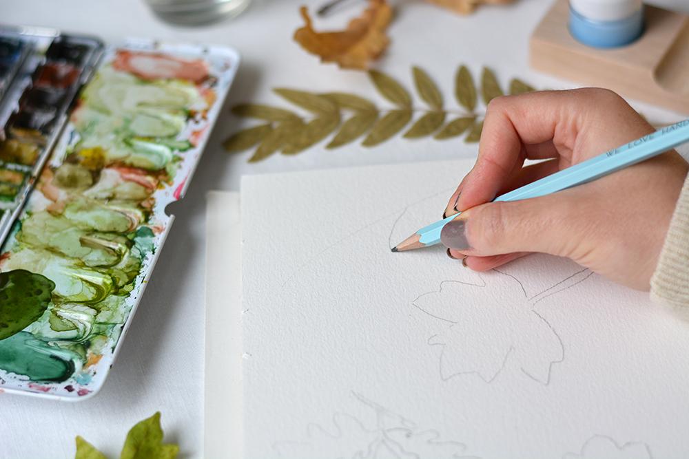 Herbstliches Aquarell zeichnen | we love handmade