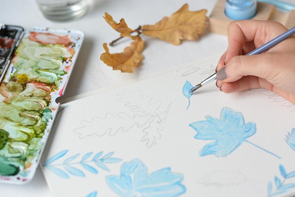 Herbstliches Aquarellbild: Blätter | we love handmade