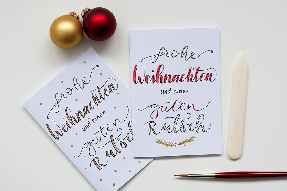 Weihnachtskarten mit Lettering: Freebie | we love handmade