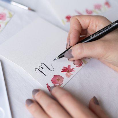 Aquarell-Tischkarten mit Brush Lettering   we love handmade