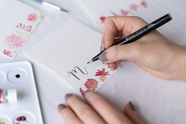 Aquarell-Tischkarten mit Brush Lettering | we love handmade