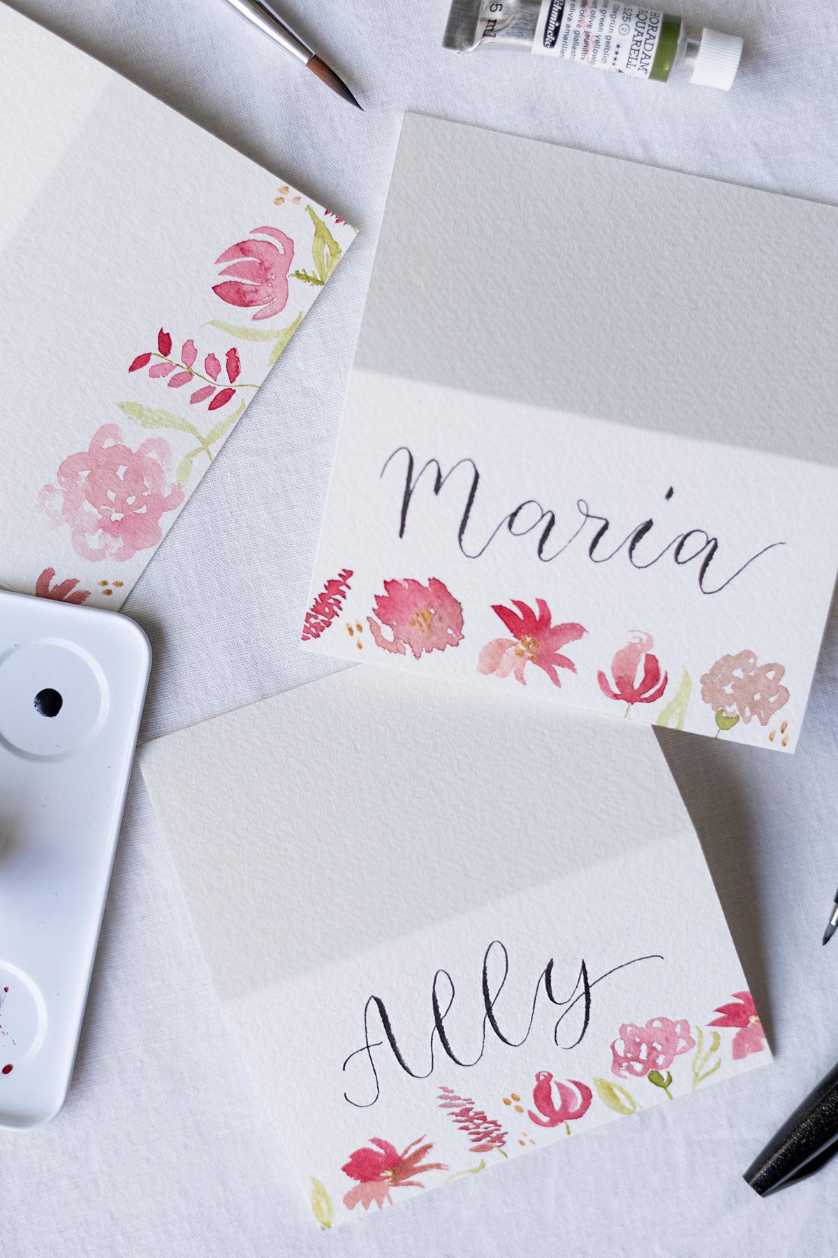 Aquarell-Tischkarten für Hochzeit | we love handmade