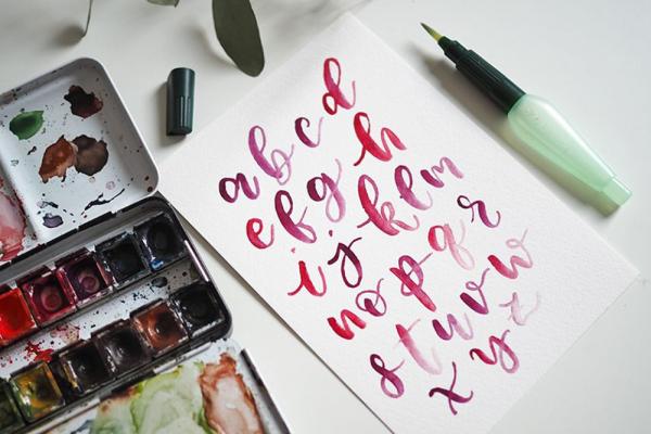 Brush Lettering & Aquarellmalerei   we love handmade