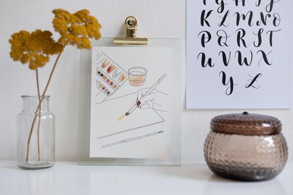 Aquarellmalerei Printable: Interior-Deko   we love handmade