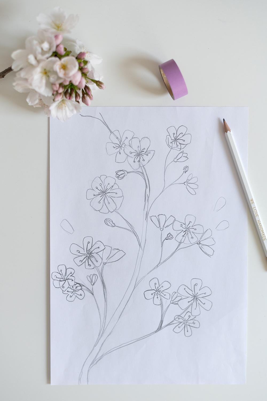 Fensterbemalung: Kirschblüte Vorlage | we love handmade