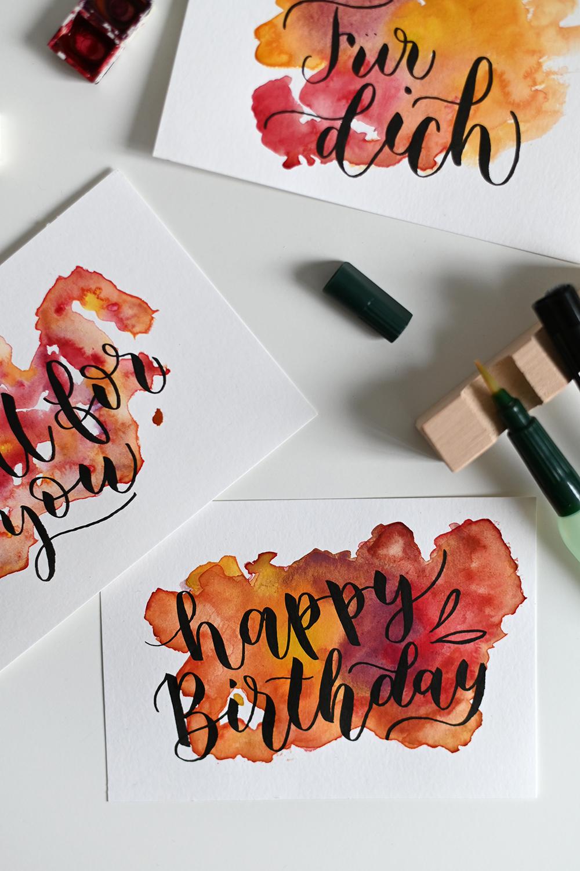 Wasserfarben-Grußkarten | we love handmade