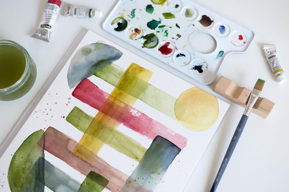 Abstraktes Aquarellbild mit Formen | we love handmade
