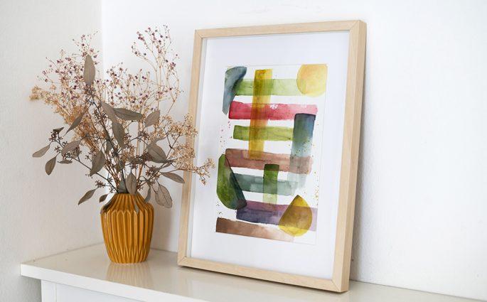 Abstraktes Aquarellbild selber machen   we love handmade