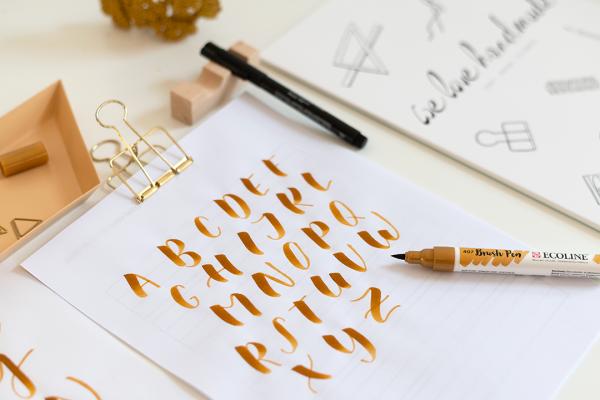 Brush Lettering Großbuchstaben Alphabet | we love handmade