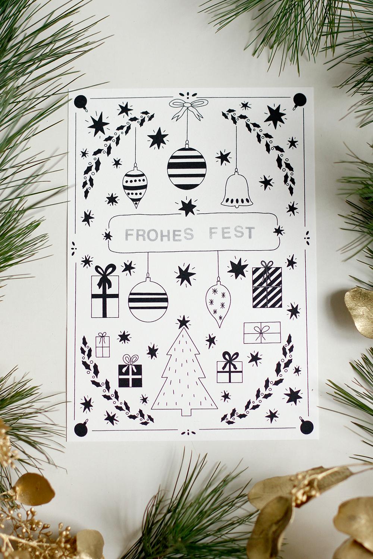 Freebie: Weihnachtskarte zum Ausdrucken | we love handmade