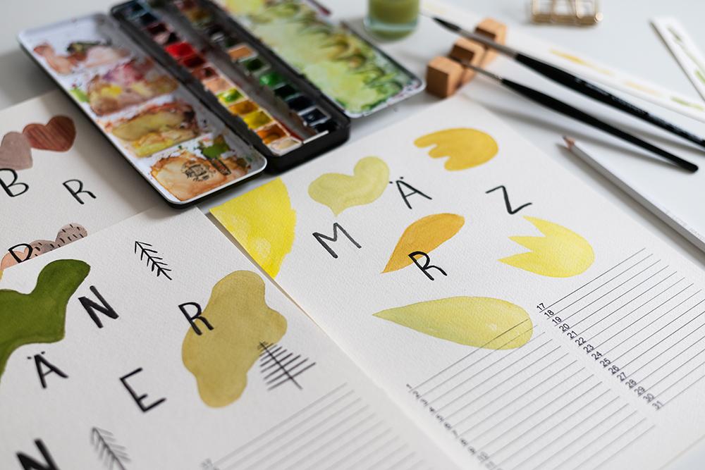 Abstrakter Wandkalender DIY   we love handmade