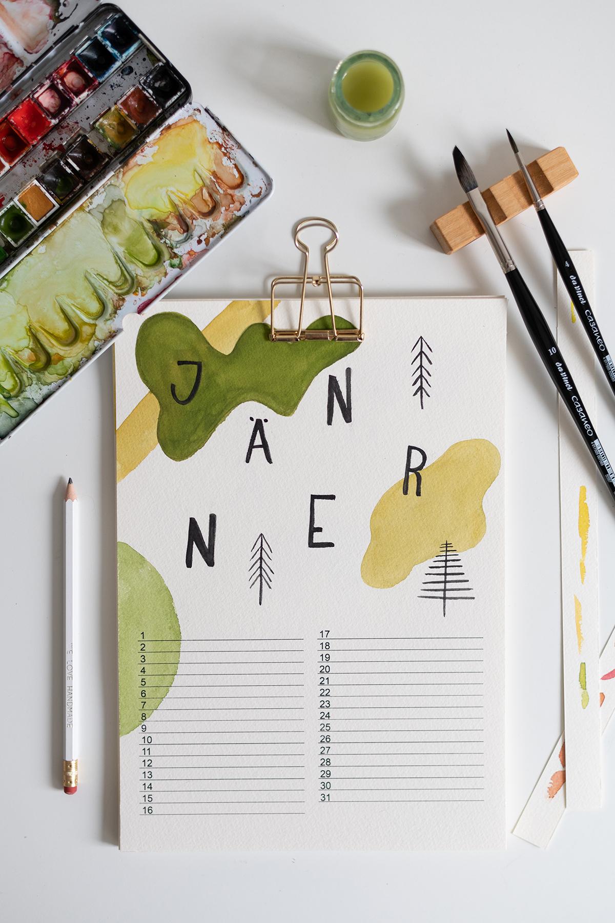 Abstrakter Wandkalender selber machen   we love handmade