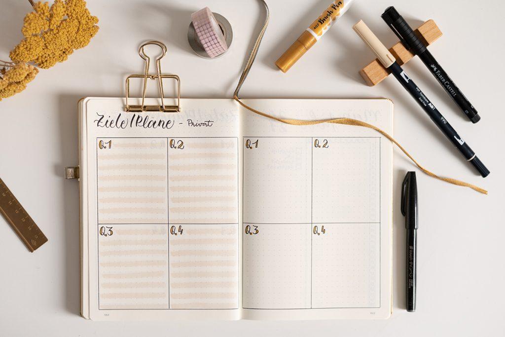 Bullet Journal Übersicht für Ziele | we love handmade