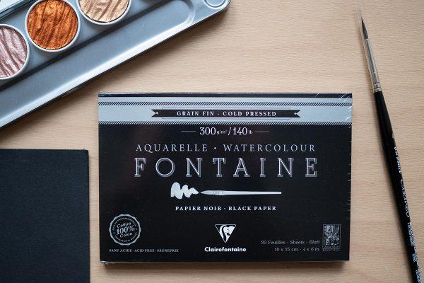 Schwarzes Aquarellpapier in Postkartengröße | we love handmade