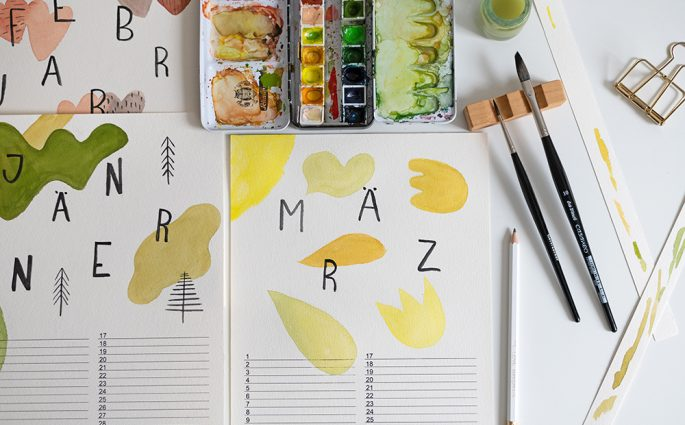 Wandkalender-DIY Gemoetrische Formen | we love handmade