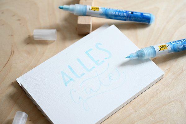 Aquarellmalerei mit Rubbelkrepp: Marker   we love handmade