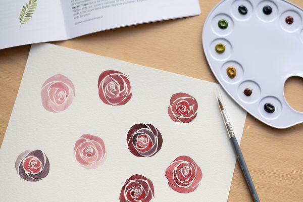 Aquarellmalerei: Rosen   we love handmade